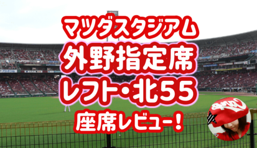 マツダスタジアム【外野指定席・レフト北55(前列)】見え方レビュー!